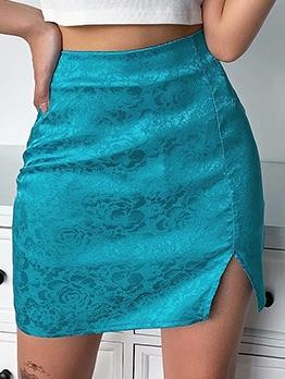 Stylish JacquardWeave Slit Skirts For Women