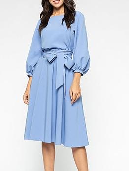 Lantern Sleeve Tie-Wrap Ladies Dress Elegant