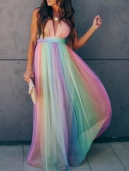 Hot Sale Deep V Neck Iridescent Sleeveless Maxi Dress