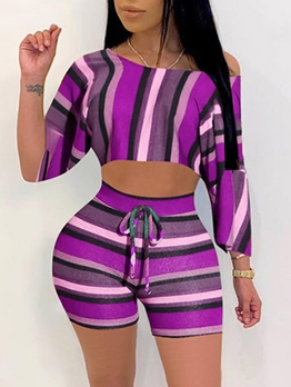 Inclined Shoulder Stitching Color Stripes 2 Piece Outfits