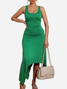 Simple Style U Neck Irregular Hem Summer Dress