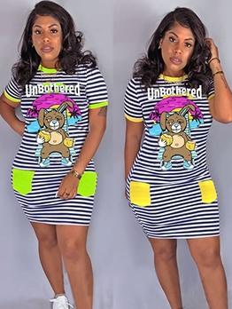 Cute Bear Print Striped Short Sleeve Casual Dresses