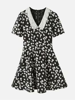 Doll Collar Black Daisy Short Sleeve A-Line Dress