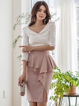 Elegant v Neck Ruffle 2 Piece Skirt Set