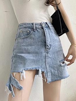Irregular Design Solid Color Ripped Denim Skirt