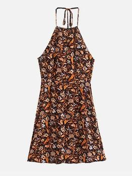 Backless Floral Halter Neck Summer Dress