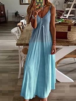 Gradient Color Sleeveless Plus Size Maxi Dress