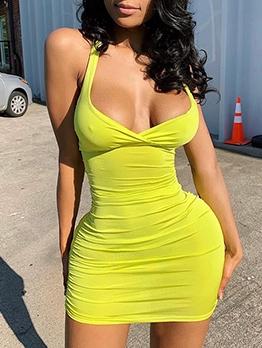 Sexy Solid Ruched V Neck Halter Dress