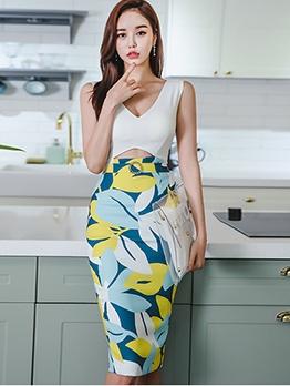 Elegant Cutout Printed Sleeveless Bodycon Dress
