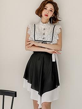 Lace Contrast Color Two Piece Skirt Set