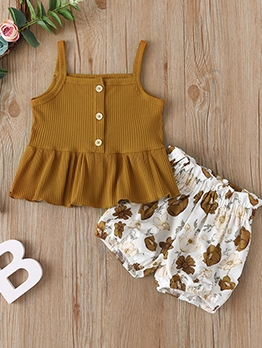 Fashion Flounced Hem Summer Clothing Set For Girl