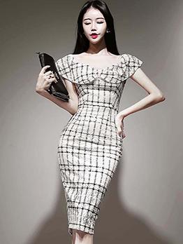 Graceful Doll Collar Plaid Ladies Dress
