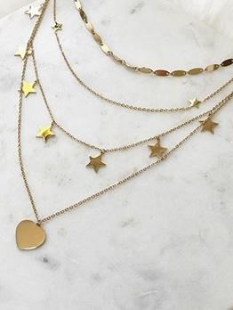 Trendy Multilayer Pentagram Heart Pendant Necklace