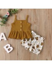 Fashion Flounced Hem Summer Clothing Set For Girl