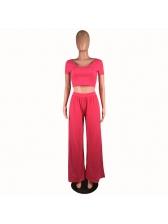 Solid Color Wide Legs Summer Crop Top And Pants Set