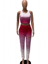 Hole Stacked Leg Gradient Color Fitted Tracksuit Set