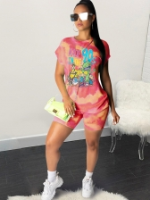 Cartoon Print Tie Dye Two Piece Short Set