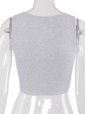 Fashion Safety Pin Closure Cropped Tank Top