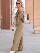 Casual Solid Loungwear Two Piece Outfits