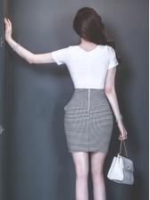 Bowknot Decor Plaid Patchwork Short Sleeve Bodycon Dress