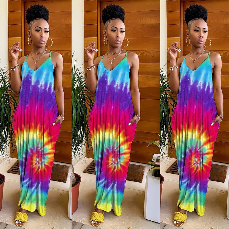 Pockets V Neck Sleeveless Tie Dye Maxi Dress