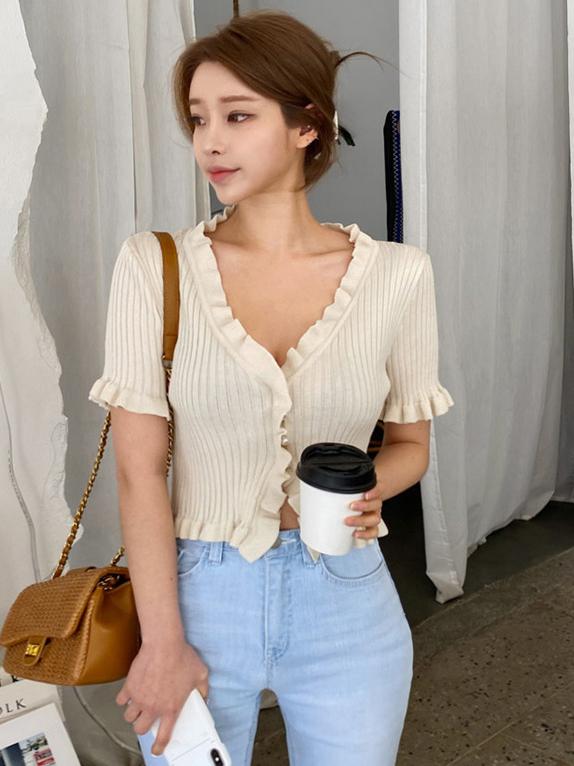 Stringy Selvedge Detail Ladies Cardigan T-Shirt