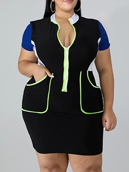 Stand Neck Contrast Color Plus Size Short Sleeve Dress