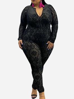 Stand Neck Black Long Sleeve Skinny Jumpsuit