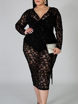 6 XL Sexy Gauze Lace Patch Skinny Black Plus Size Dress
