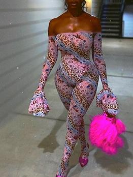 Flare Sleeve Printed Pink Off The Shoulder Jumpsuit
