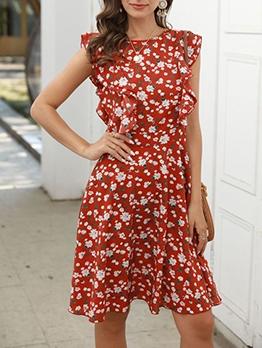 Summer Smart Waist Ruffled Detail Floral Dress