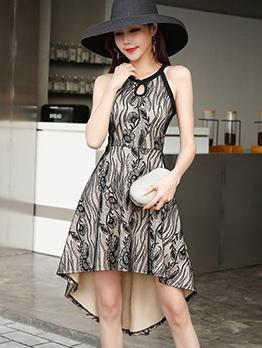 Elegant Printed High-Low Sleeveless Dress