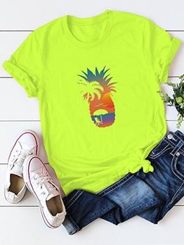 Pineapple Printing Round Collar Plus Size Cheap T Shirt