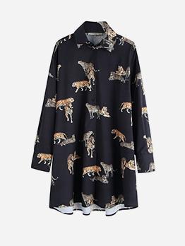 Single Breasted Tiger Pattern Short Shirt Dress