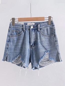 Summer Blue Side Split Ripped Denim Shorts