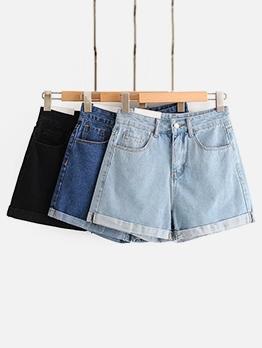 Daily Wear Pure Color Women Plain Denim Shorts