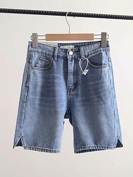 Split Bottom Pure Color Denim Half Shorts