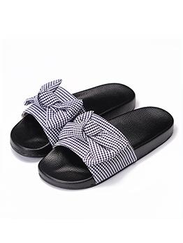 Summer Houndstooth Bow Non-Slip Slides Slippers