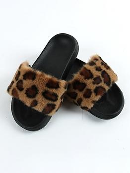Fashion Leopard Slip On Slides Slippers
