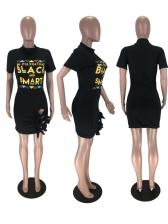Hollow Out Hem Letter Short Sleeve Tee Shirt Dress