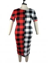 Contrast Color Plaid Short Sleeve Plus Size Dress