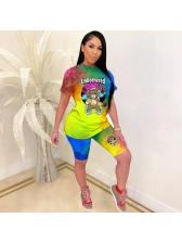 Cartoon Print Women Tie Dye Two Piece Shorts Set