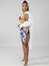 National Print Irregular Hem Long Sleeve Shirt Dress
