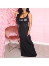 Funny Letter Print Sleeveless Maxi Dress