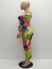 Contrast Color Letter Off Shoulder Jumpsuits For Women