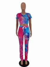 Hot Sale Ruched Hem Tie Dye Two Piece Set