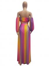 Casual Multicolored Printed Gauze Split 3 Pieces Set