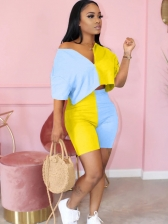 Stylish Contrast Color Short Sleeve Two Piece Outfits