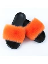Contrast Color EVA Soles Faux Fur Slippers