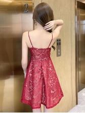 Sexy Flocking v Neck Slip Ladies Dress